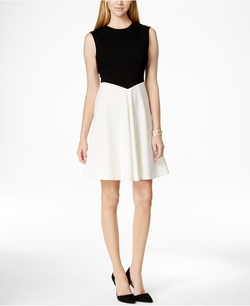 Tahari Asl - Colorblocked A-Line Dress