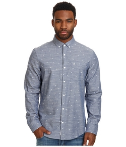 Original Penguin - Chambray Long Sleeve Woven Shirt W/ Mini Print
