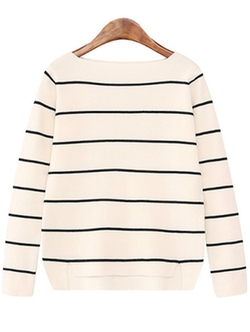 Romwe - Boat Neck Striped White Sweater