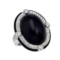 Ivanka Trump  - White Gold, Diamond & Black Onyx Oval Cocktail Ring