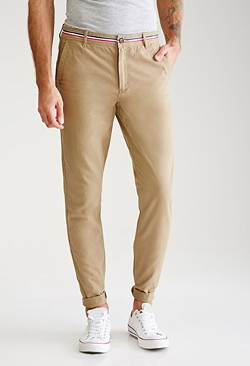 Forever21  - Tri-Stripe Slim-Leg Chino Pants