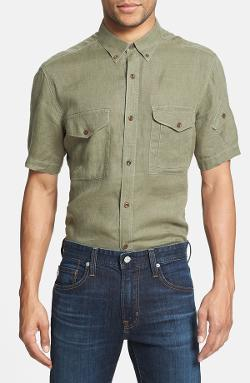 French Connection  - Slim Fit Short Sleeve Linen Sport Shirt