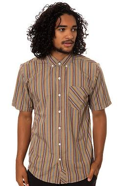 Volcom  - The Weirdoh Stripes SS Buttondown Shirt in Khaki