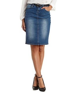 Chiqle - Medium Wash Denim Pencil Skirt