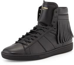 Saint Laurent - Leather High-Top Sneaker