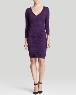 Three Dots  - Ruched V-Neck Dress