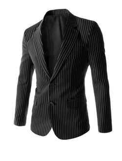 Uxcell - Notched Lapel Stripes Blazer