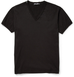 Dolce & Gabbana - V Neck Cotton Jersey T-Shirt
