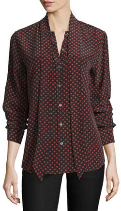 Kate Moss for Equipment - Slim Signature Heart-Print Tie-Neck Shirt
