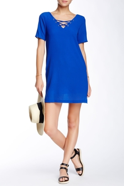 Dee Elle - Lace-Up Shift Dress