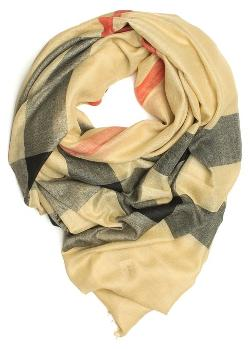 Dry77 - Thin Pashmina Plaid Large Square Scarf
