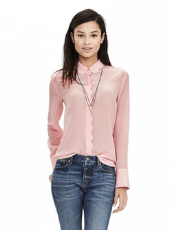 Banana-Republic - Scalloped Pink Silk Blouse