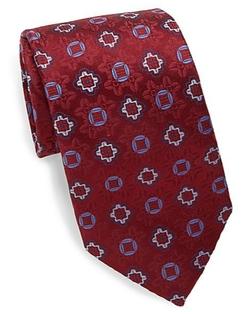 XMI Platinum - Floral Medallion Silk/Linen Tie