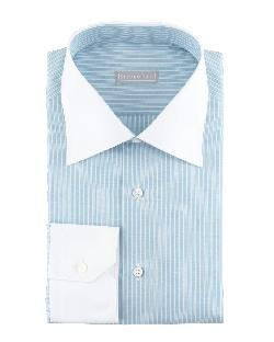 Stefano Ricci  - Contrast-Collar 3-Row Stripe Dress Shirt, Aqua