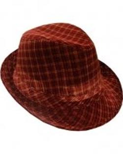 Fashion Fedoras By Outer Rebel - Outer Rebel Fashion Fedora Hat- Red Plaid Velour