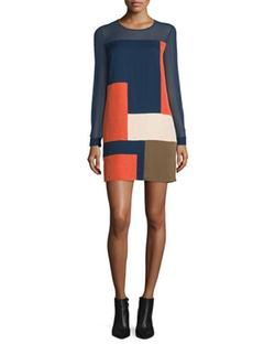 Diane Von Furstenberg - Raegan Long-Sleeve Silk Colorblock Mini Dress
