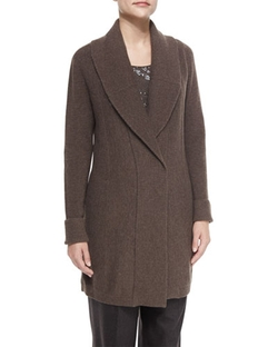 Lafayette 148 New York - Shawl-Collar Long Wool Cardigan