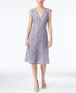 Anne Klein - Burnout V-Neck A-Line Dress