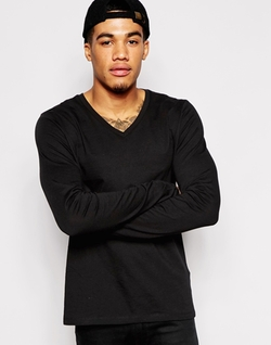Asos - Long Sleeve T-Shirt With V Neck