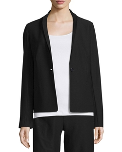 Eileen Fisher  - Washable Stretch Crepe One-Button Blazer