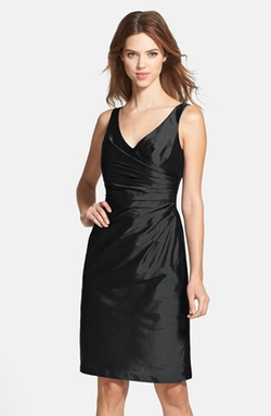 Alfred Sung - Satin Side Pleat Satin Sheath Dress