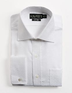 LAUREN RALPH LAUREN  - Regular Fit French Cuff Textured Cotton Dress Shirt