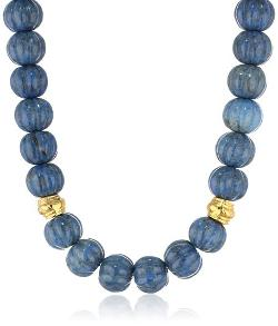 Devon Leigh  - Lapis Nugget and Gold Dipped Bead Necklace