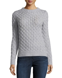 Neiman Marcus   - Open-Stitch Cable-Knit Sweater