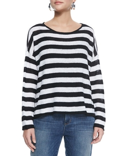 Eileen Fisher  - Wide Striped Box Top