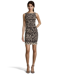 Nanette Lepore - Brown And Tan Stretch Leopard Sheath Dress
