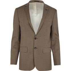 River Island - Brown Check Slim Suit Jacket
