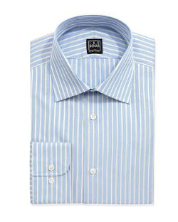 Ike Behar - Long-Sleeve Striped Poplin Dress Shirt