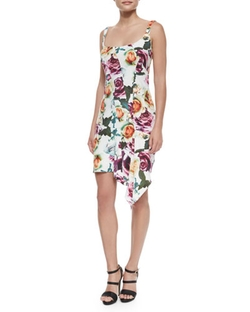 Nicole Miller - Sleeveless Asymmetric Floral Cocktail Dress