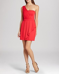 BCBGMAXAZRIA Dress - Vanessa One Shoulder Cascade Ruffle