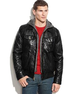 Guess - Leather Jacket with Knit Hood
