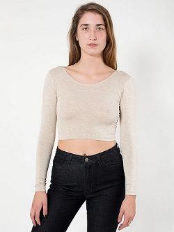 American Apparel - Cotton Spandex Jerseylong Sleeve Crop Top