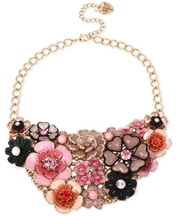 Betsey Johnson - Colorful Crystal Floral Statement Necklace