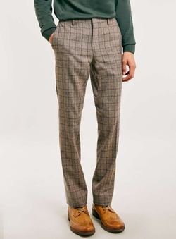 Topman - Brown Check Skinny Fit Suit Pants