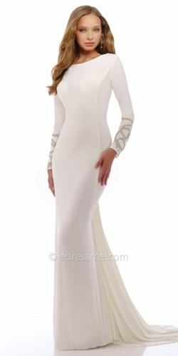 Nika - Serpentine Long Sleeve Evening Dress