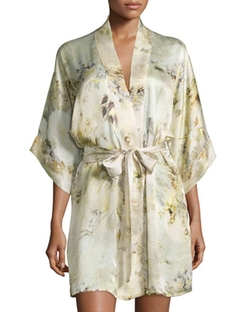 Christine  - Magnolia Printed Short Wrap Robe