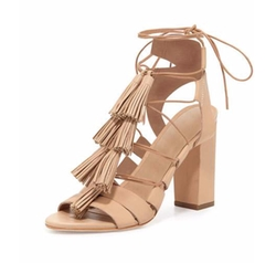 Loeffler Randall  - Luz Tassel Lace-Up Leather Sandals