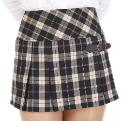 Danischoice - Belt Plaid Pleated Mini Skirt