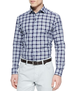 Ermenegildo Zegna - Large-Plaid Button-Down Shirt