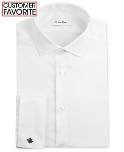 Calvin Klein  - Steel Non-Iron Slim-Fit Texture French Cuff Shirt