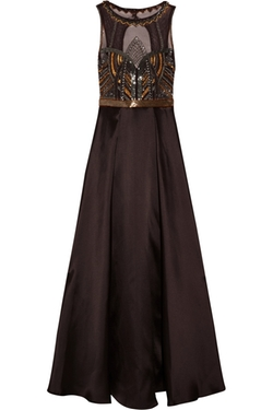 Badgley Mischka - Embellished Satin And Tulle Gown