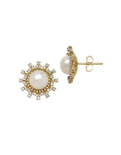 Lord & Taylor - Yellow Gold Freshwater Pearl and Diamond Earrings