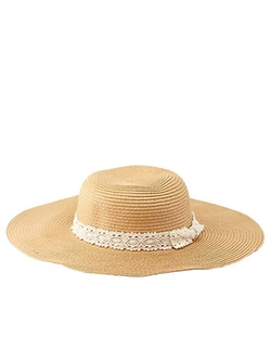 Charlotte Russe - Crochet band Floppy Straw Hat