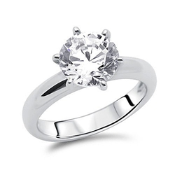 Double Accent - Simulated Diamond Round Solitaire Ring