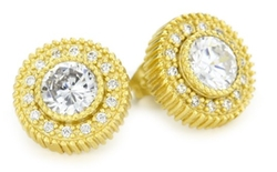 Freida Rothman - Gold Plated Framed Solitaire Stud Earrings