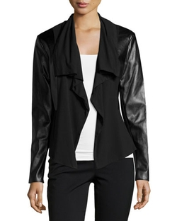 Chelsea & Theodore - Faux-Leather Drape-Front Jacket